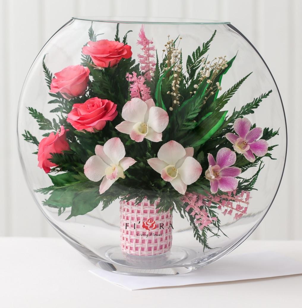 Роз, композиции из искусственных цветов в круглых вазах